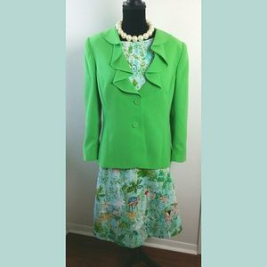Preston & York Green Ruffle Blazer Sz 14